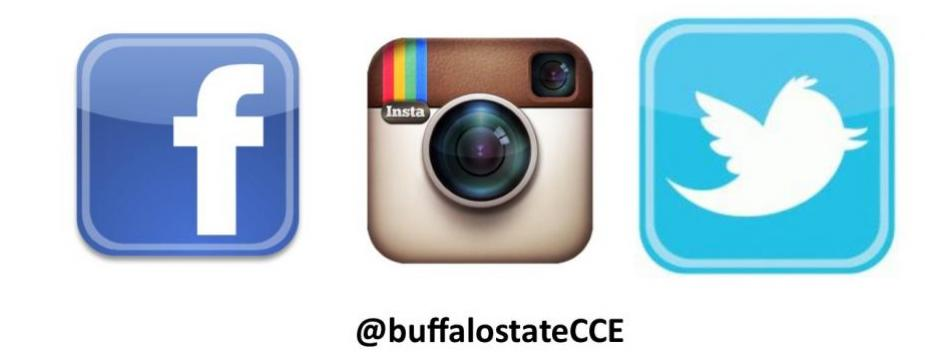 civic and community engagement office can be contacted on Facebook, Instagram and Twitter @buffalostateCCE