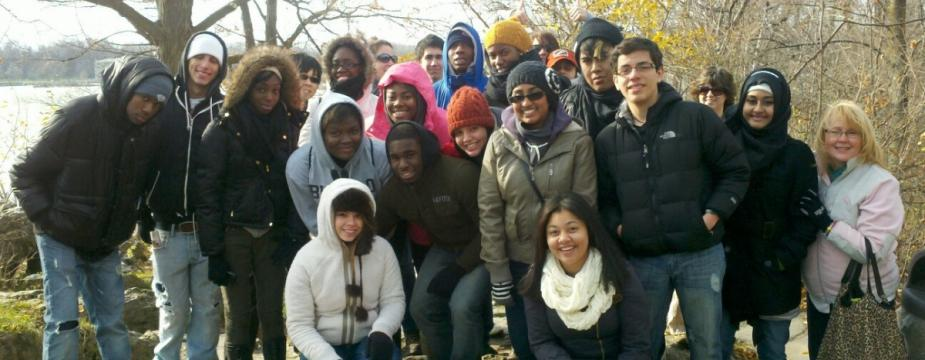 A service-learning class picture outside