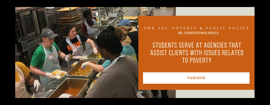 SWK 301: poverty & public policy. Dr. Christopher Aviles. Students serve at agencies that assist clients with issues related to poverty. Various