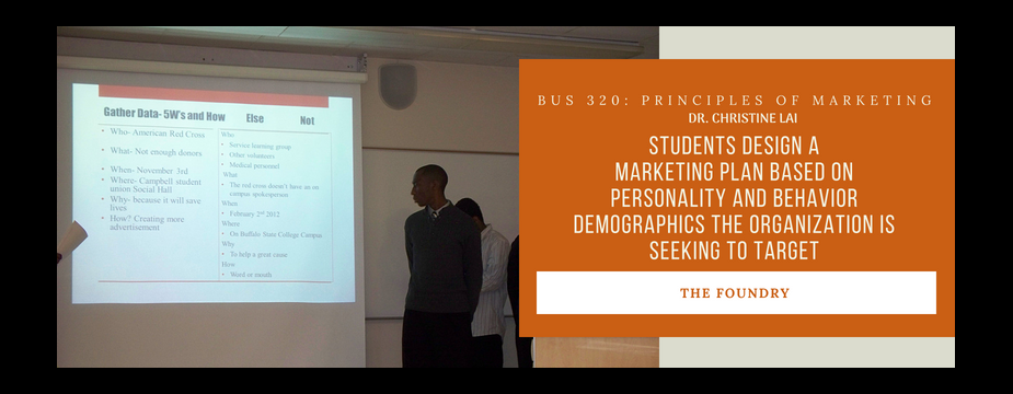 Bus 320 Principles of Marketing. Dr. Christine Lai. students design a marketing plan based on personality and behavior demographics the organization is seeking to target. The Foundry