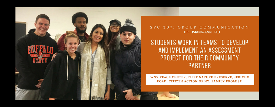 SPC 307: Group Communication. Dr. Hsiang-Ann Liao. Students work in teams to develop and implement an assessment project for their community partner. WNY peace center, tifft nature preserve, jericho road, citizen action of NY, Family Promise