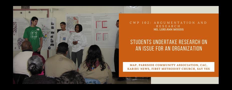 CWP 102: Argumentation and Research. Ms. Lori Ann Woods. Students undertake research on an issue for an organization.