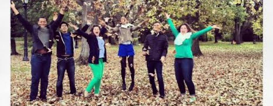 6 people take a photo throwing leaves into the air