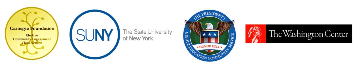 Logos of the Carnegie foundation, SUNY, the president's higher education community service and, the Washington center